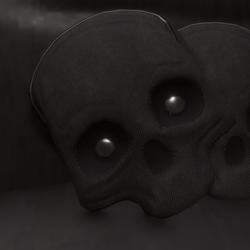 skull pillow black cloth