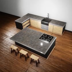 Kitchen dark marble.