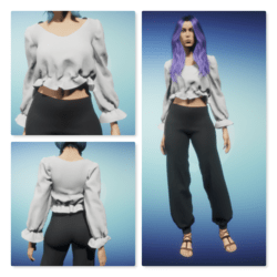 Cropped Peasant Blouse - White