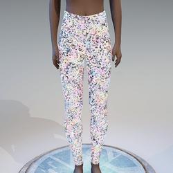 Emissive colorful glitter leggings