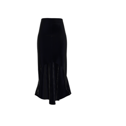 Long Black Skirt with Flounce