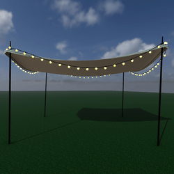 Sun shade with string lights - square