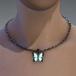 Emissive butterfly chain necklace