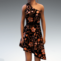 Shoulder Strap Dress in Painted Garden - Orange