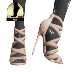 Strappy stiletto sandals for h2ai high - beige