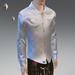 Silver Quilt Long Sleeves Shirt - Male