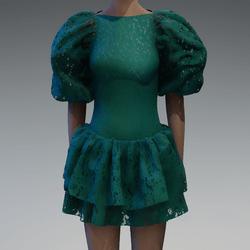 Emerald lace large puff sleeve dress