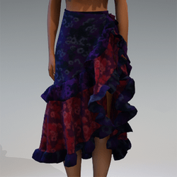Violet floral ruffle skirt