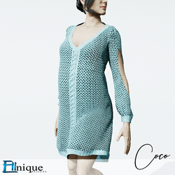 Coco Teal Sweater dress cutout arms