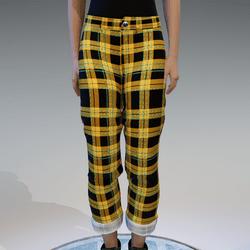 yellow checkerd pants