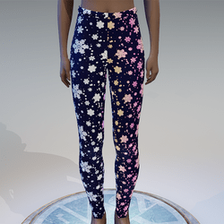 Emissive gradient snowflakes blue leggings