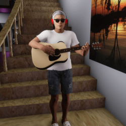 Male Guitar Standing