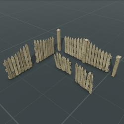 Weathered Picket Fence Set