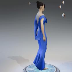 Elegant Extremely Low Back Dress BABY BLUE