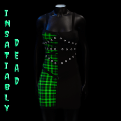 Pentagram Strapped Dress Tartan [GREEN]