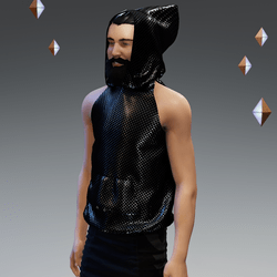 'Headspace' Carbon Fibre (υ) Sleeveless Hoodie - Unisex