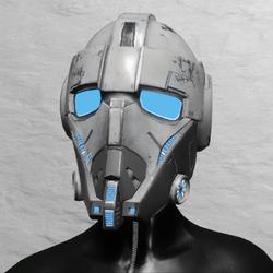 TKA Helmet Scifi Blue Emissive & UV Animation ( Women )