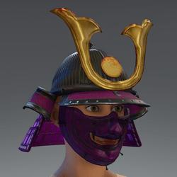 Samurai Helmet & Mask - Pink/Gold