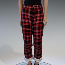 red checkerd pants