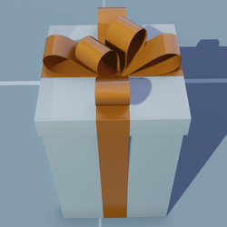 Gift Tall Square with Orange Bow