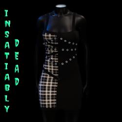 Pentagram Strapped Dress Tartan [WHITE]