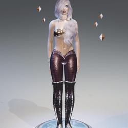 Rose-1Tone Mermaid Leggings - Female