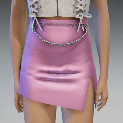 Satin Mini Skirt with Chains in Pastel Pink