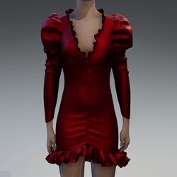 Red textured silk ruched puff sleeve dress