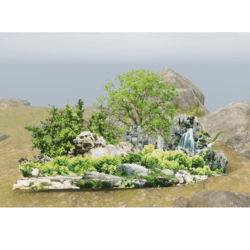 Forrest Privacy Wall with Waterfall  - Land Border - Land Border - 2D Model - with trancparency