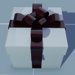 Gift Square with Dark Red Bow