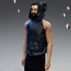 'Headspace' Faux Leather (ρ) Sleeveless Hoodie - Unisex