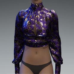 Purple & gold metallic roses blouse
