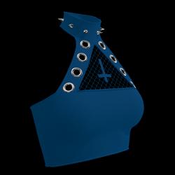 Inverted Cross Halter Top (Blue)