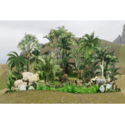Tropical Privacy Wall with Rock - Land Border - 2D Model - with trancparency