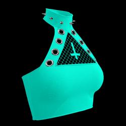 Inverted Cross Halter Top (Teal)