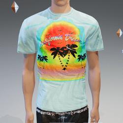 Fade-Blue California Dream Pocket T-Shirt - Male