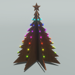 Skye Wooden Tree 1 - Cascading Rainbow Lights