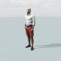Bald man wearing shorts 3D scan static model