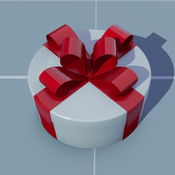 Gift Round with Red Bow