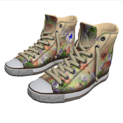 Girl shoes San-Star sneakers high flowers for woman