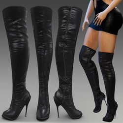 Long leather high heeled boots with zipper (for High Heeled Alina-Daisy Avatar)