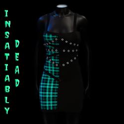 Pentagram Strapped Dress Tartan [AQUA]