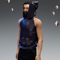 'Headspace' Faux Leather (ο) Sleeveless Hoodie - Unisex