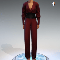 Wrapped Pantsuit - Burgundy Linen and Leather