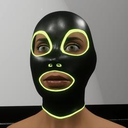 TKA Black leather mask & green emissive