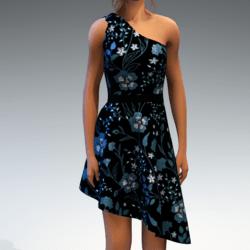 Shoulder Strap Dress in Painted Garden - Seafoam