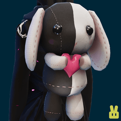 Plush bunny - hand - black n white
