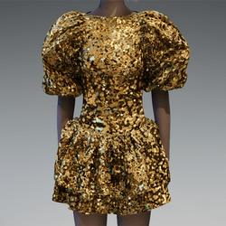 Large Gold glitter puff sleeve dress
