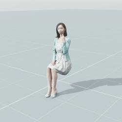 Aya sitting 3D scan static model