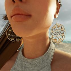 Flower Mandala Hoop Earrings (Gold)